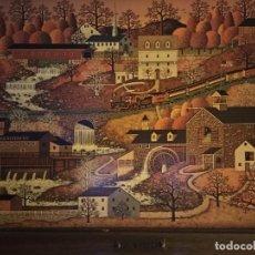 Arte: CUADRO CHARLES WYSOCKI - PUEBLO Y TREN. Lote 194883650