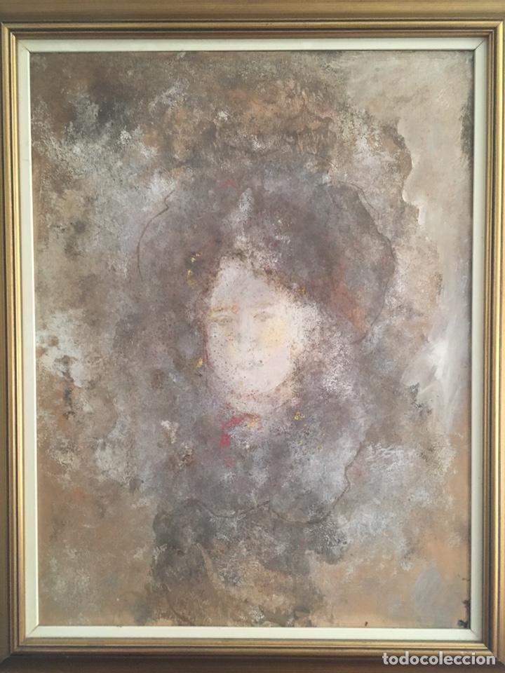 Arte: Retrato femenino Óleo sobre tabla dimensiones 50x65.5cm - Foto 2 - 194914652