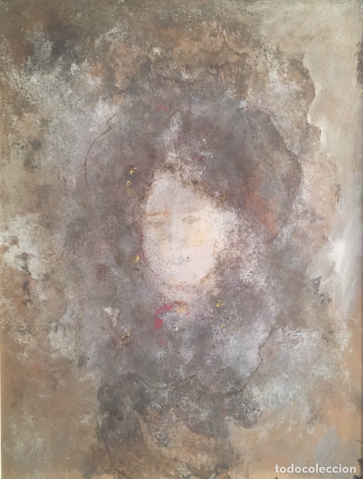 Arte: Retrato femenino Óleo sobre tabla dimensiones 50x65.5cm - Foto 3 - 194914652