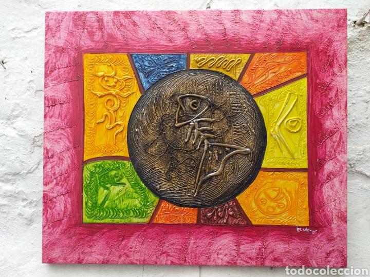 CUADRO EN LIENZO TIPO ÉTNICO 57X48 CM (Arte - Pintura - Pintura al Óleo Contemporánea )