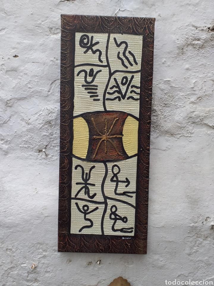 CUADRO EN LIENZO TIPO ÉTNICO 72X28 CM (Arte - Pintura - Pintura al Óleo Contemporánea )