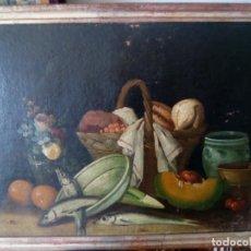 Arte: BODEGÓN CON TRUCHAS. ÓLEO SOBRE TELA PEGADA A TABLA.. Lote 194939382