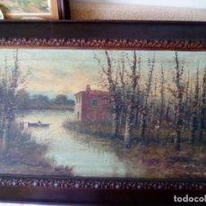 Arte: PAISAJE CON RÍO Y BARCA. ÓLEO SOBRE TELA. PRECIOSO MARCO DE MADERA. MIDE 95 X 60 CMS. FIRMADO J.PUI. Lote 194940333
