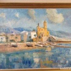 Arte: PINTURA AL ÓLEO DE SITGES (RIBERA). Lote 194962122