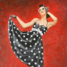 Arte: PIN-UP VESTIDO NEGRO-INMA ESCRICH. Lote 195006858
