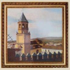 Arte: VISTA DE VELEZ MALAGA, GRAN OLEO SOBRE LIENZO.. Lote 195025497