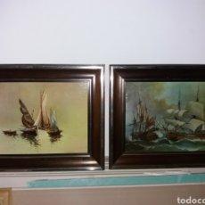 Arte: LOTE 2 CUADROS ANTIGUOS PINTADO AL ÓLEO. Lote 195036682