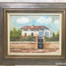 Arte: OLEO SOBRE LIENZO MARCO DORADO CASERON VENTANALES ARBOLEDA VERJA FLORES COLORIDO MINUCIOSO FIRMADO. Lote 195037787
