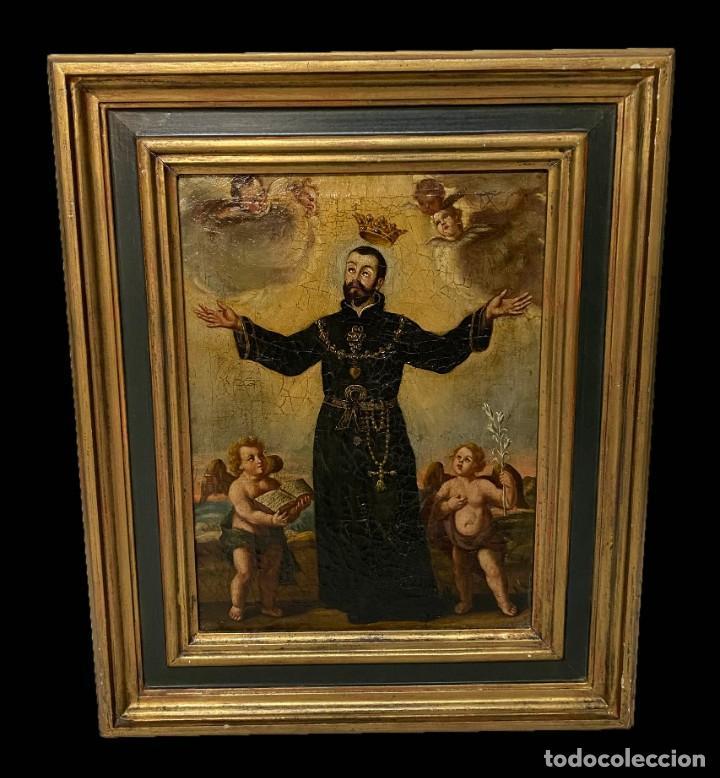LA GLORIFICACIÓN DE SAN CAYETANO DE DIEGO LÓPEZ, EL MUDO DISCÍPULO OFICIAL DE JUAN CARREÑO. (Arte - Pintura - Pintura al Óleo Antigua siglo XVII)