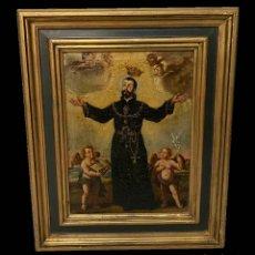 Arte: ANTIGUO ÓLEO SOBRE LIENZO DE SAN FRANCISCO DE BORJA CON MARCO DORADO AL ORO FINO. AÑO 1569. FIRMADO.. Lote 195056710