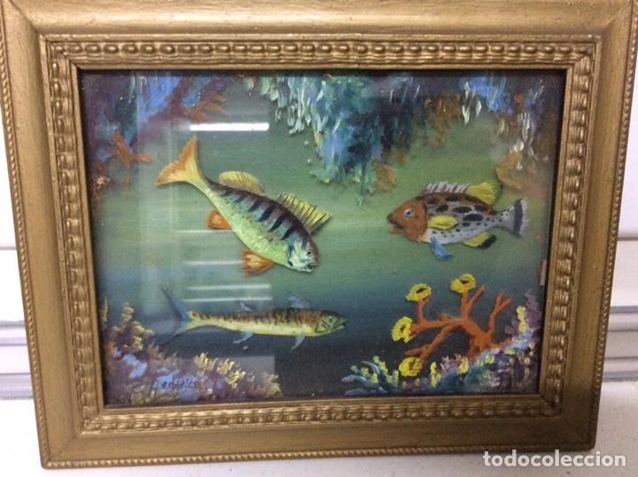 ÓLEO FONDO MARINO EN 3D SOBRE CRISTAL Y TABLA - 1949 (Arte - Pintura - Pintura al Óleo Contemporánea )