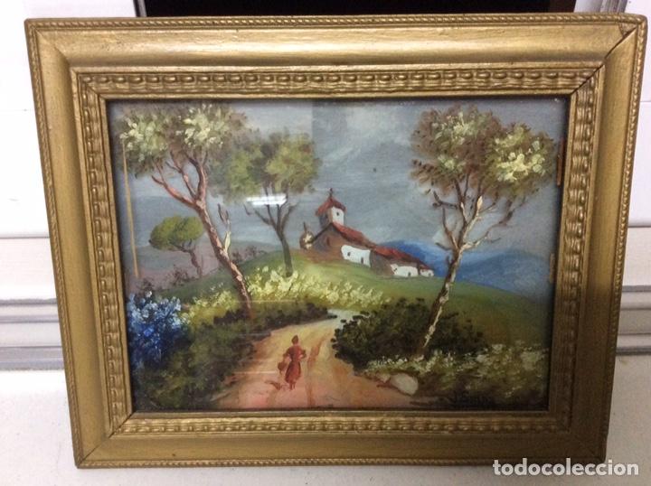 Arte: Óleo de un PAISAJE CON IGLESIA en 3D sobre Cristal y tabla - 1949 - Foto 2 - 195058860