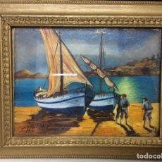 Arte: ÓLEO DE UNA MARINA EN 3D SOBRE CRISTAL Y TABLA. Lote 195058922