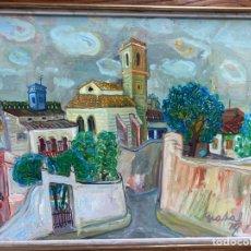 Arte: OLEO SOBRE LIENZO,SANT PERE DE RIBES. FIRMADO CARLES NADAL. 1974. MEDIDA: 84 X 64 CM.. Lote 195074607