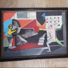 Arte: CUADRO SURREALISTA MEDIADOS SIGLO XX ENMARCADO CRISTAL CARTON OLEO FIRMADO. Lote 195081365
