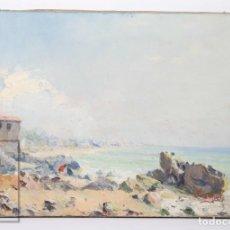 Arte: ÓLEO SOBRE LIENZO DE JOSEP SUÑOL - PAISAJE COSTERO - FIRMADO - AÑO 1946. Lote 195089888