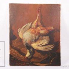 Arte: ÓLEO SOBRE LIENZO DE FEDERICO MOLINA ALBERO - BODEGÓN CON PERDIZ, DEDICADO - MEDIDAS 37,5 X 46 CM. Lote 195091818