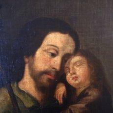 Arte: ÓLEO SOBRE LIENZO. ESCUELA SEVILLANA S.XVIII, SAN JOSÉ CON EL NIÑO. Lote 195098325