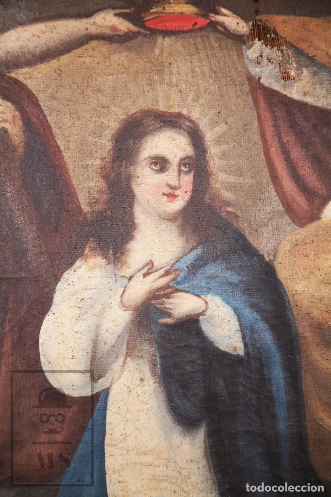 Arte: Antigua Pintura Religiosa al Óleo Sobre Lienzo, S. XVIII - Coronación Virgen - Med. 60,5 x 81,5 cm - Foto 3 - 195098535