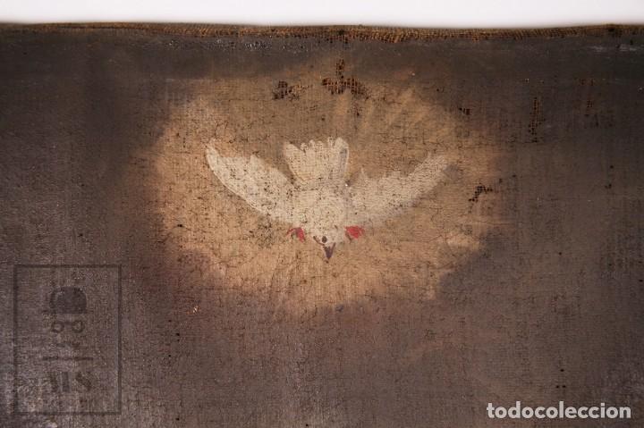 Arte: Antigua Pintura Religiosa al Óleo Sobre Lienzo, S. XVIII - Coronación Virgen - Med. 60,5 x 81,5 cm - Foto 5 - 195098535