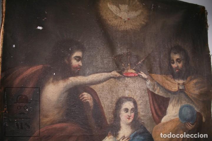 Arte: Antigua Pintura Religiosa al Óleo Sobre Lienzo, S. XVIII - Coronación Virgen - Med. 60,5 x 81,5 cm - Foto 7 - 195098535
