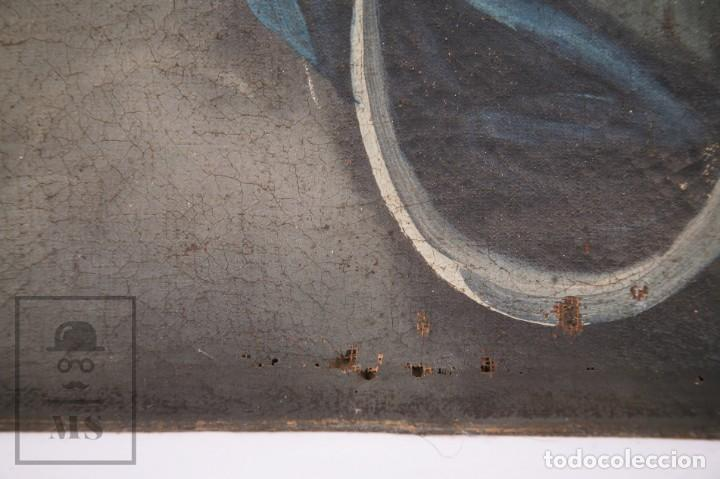 Arte: Antigua Pintura Religiosa al Óleo Sobre Lienzo, S. XVIII - Coronación Virgen - Med. 60,5 x 81,5 cm - Foto 9 - 195098535
