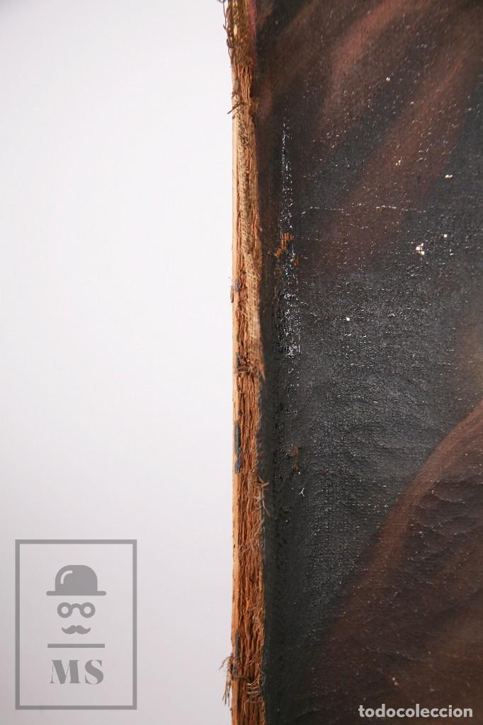 Arte: Antigua Pintura Religiosa al Óleo Sobre Lienzo, S. XVIII - Coronación Virgen - Med. 60,5 x 81,5 cm - Foto 13 - 195098535