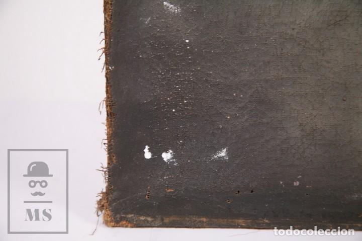 Arte: Antigua Pintura Religiosa al Óleo Sobre Lienzo, S. XVIII - Coronación Virgen - Med. 60,5 x 81,5 cm - Foto 14 - 195098535
