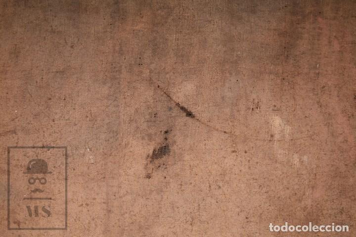 Arte: Antigua Pintura Religiosa al Óleo Sobre Lienzo, S. XVIII - Coronación Virgen - Med. 60,5 x 81,5 cm - Foto 19 - 195098535