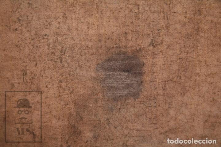 Arte: Antigua Pintura Religiosa al Óleo Sobre Lienzo, S. XVIII - Coronación Virgen - Med. 60,5 x 81,5 cm - Foto 21 - 195098535