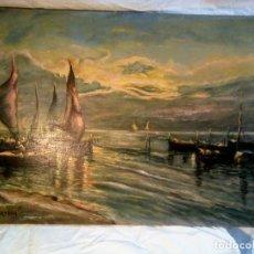 Arte: ÓLEO SOBRE LIENZO MARINA NOCTURNA . FIRMADO J. ORTEGA. AÑO 1971.68 CMX 50 CM. Lote 195099046