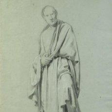 Arte: DIBUJO A LÁPIZ Y PASTEL HOMBRE NEOCLÁSICO FIRMADO P.CLAVÉ ROMA 1840. Lote 195106778