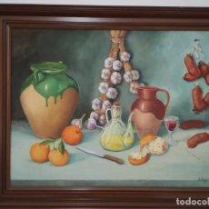 Arte: CUADRO BODEGON AL OLEO ESTILO MEDITERRÁNEO GRAN TAMAÑO 120X90. Lote 195111026
