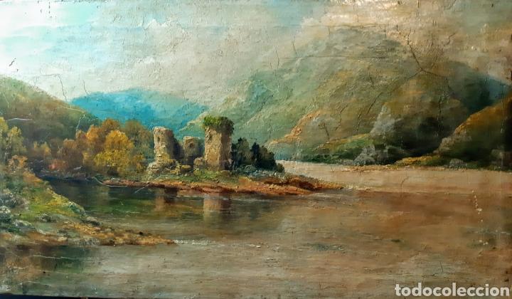 ÓLEO ANTIGUO CASTILLO DE KILCHURN ( ESCOCIA ) (Arte - Pintura - Pintura al Óleo Antigua sin fecha definida)