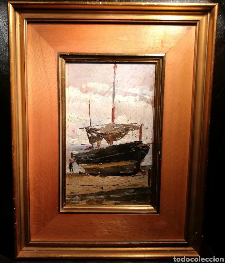 BARCA VARADA POR ANTONI COLL PI (1857-1942) (Arte - Pintura - Pintura al Óleo Moderna siglo XIX)