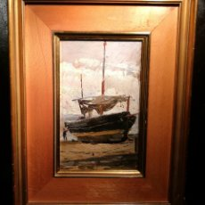 Arte: BARCA VARADA POR ANTONI COLL PI (1857-1942). Lote 195134715
