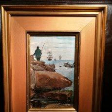 Arte: PESCANDO POR ANTONI COLL PI (1857-1942). Lote 195135202
