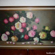 Arte: 23 ROSAS. OLEO LIENZO AÑOS 60-70 , R. SANJUAN. BASTIDOR 80X40 TOTAL 88X48. . Lote 195156515