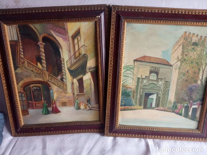 LOTE DE 2 ÓLEOS ANTIGUOS CASA DALMASES EN TABLA CON FIRMA D. MORENO M (Arte - Pintura - Pintura al Óleo Moderna siglo XIX)