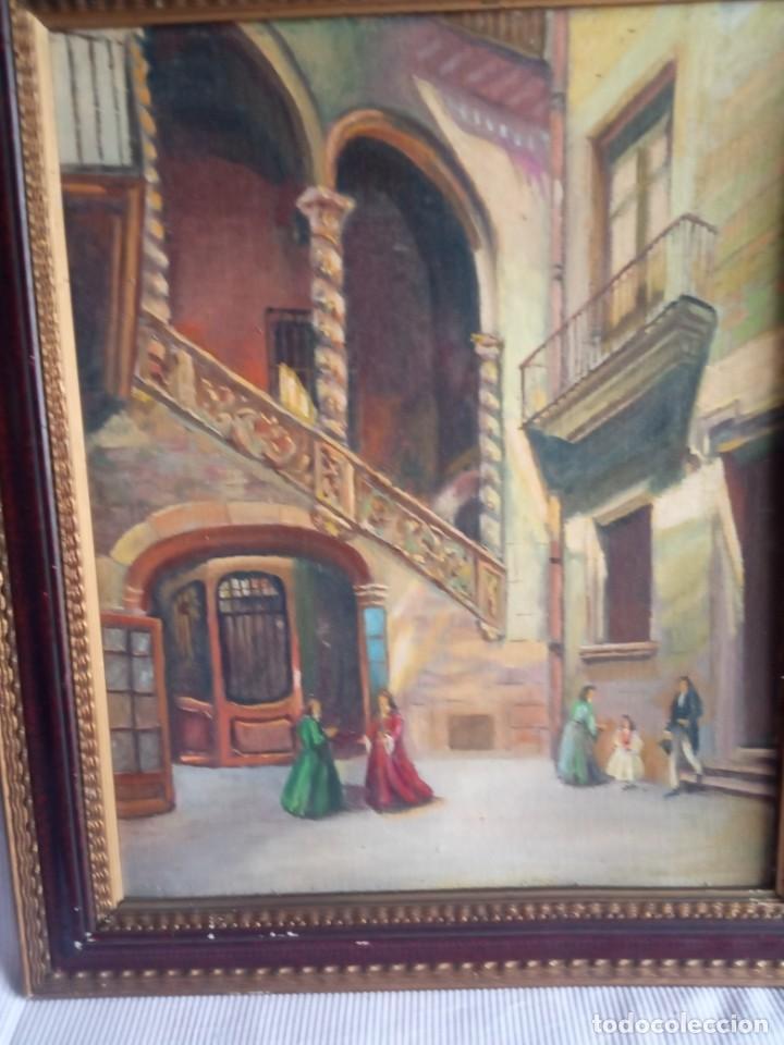 Arte: lote de 2 óleos antiguos casa Dalmases en tabla con firma D. Moreno M - Foto 2 - 195161753
