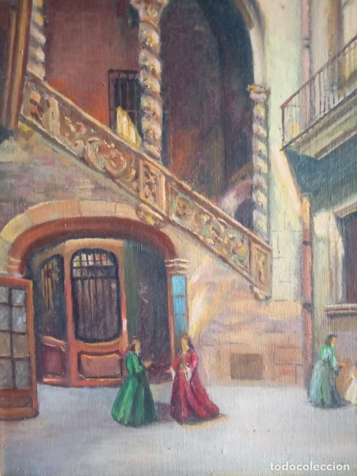 Arte: lote de 2 óleos antiguos casa Dalmases en tabla con firma D. Moreno M - Foto 3 - 195161753