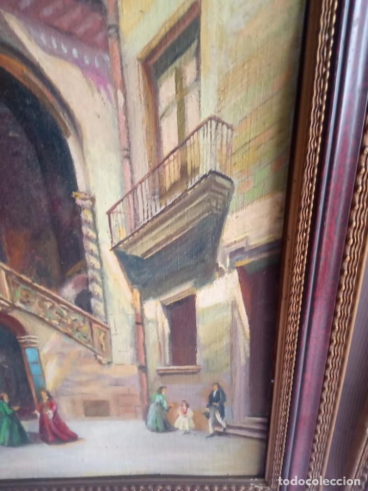 Arte: lote de 2 óleos antiguos casa Dalmases en tabla con firma D. Moreno M - Foto 4 - 195161753