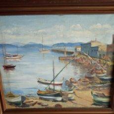 Arte: HERMOSA MARINA ANTIGUA Y ORIGINAL EN LIENZO CON FIRMA MORATA.. Lote 195163087