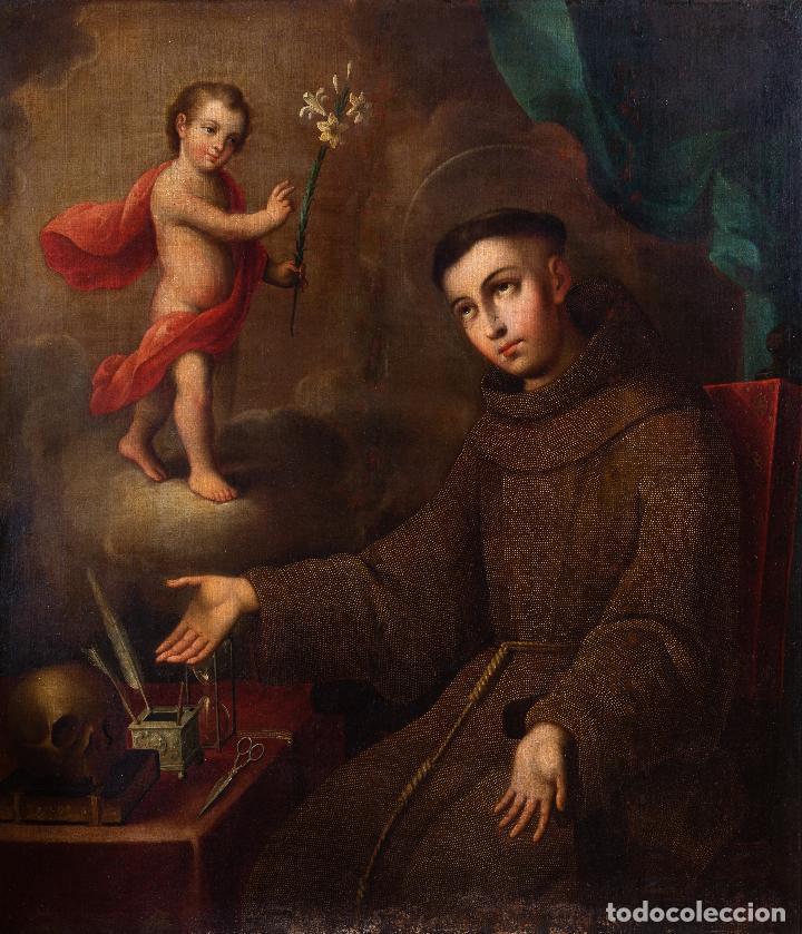 JOSÉ DE PÁEZ. SAN ANTONIO CON EL NIÑO JESÚS. PIEZA PARA MUSEO (Arte - Pintura - Pintura al Óleo Antigua siglo XVIII)