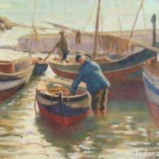 Arte: POSTIMPRESIONISMO CATALÁN. DOS MARINAS FIRMADAS DE SOBRE 1932 (REPÚBLICA). Lote 195179765