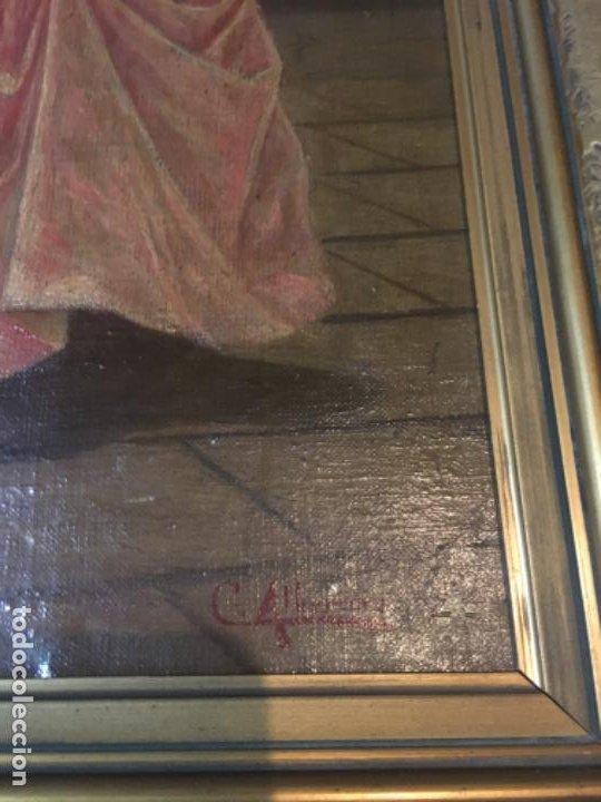 Arte: (M) LIENZO SOBRE TELA FIRMADO C. ALBERICIO 19.. NIÑA CON PERRO ENMARCADO 63X53 OLEO 50X40 cm. - Foto 2 - 195206823