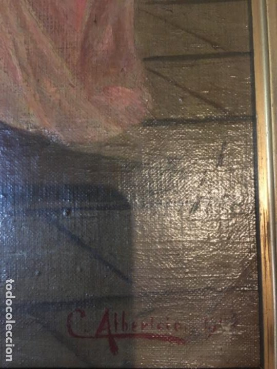 Arte: (M) LIENZO SOBRE TELA FIRMADO C. ALBERICIO 19.. NIÑA CON PERRO ENMARCADO 63X53 OLEO 50X40 cm. - Foto 3 - 195206823