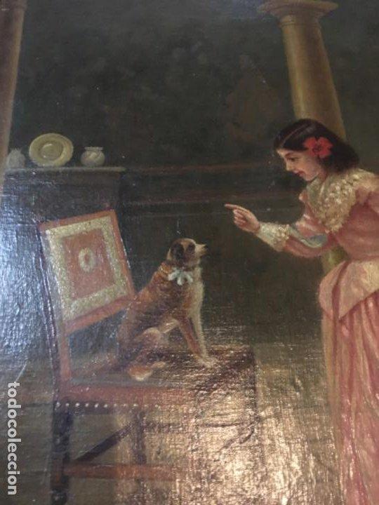 Arte: (M) LIENZO SOBRE TELA FIRMADO C. ALBERICIO 19.. NIÑA CON PERRO ENMARCADO 63X53 OLEO 50X40 cm. - Foto 5 - 195206823