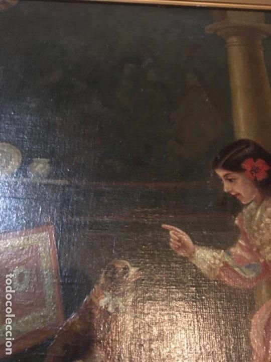 Arte: (M) LIENZO SOBRE TELA FIRMADO C. ALBERICIO 19.. NIÑA CON PERRO ENMARCADO 63X53 OLEO 50X40 cm. - Foto 6 - 195206823