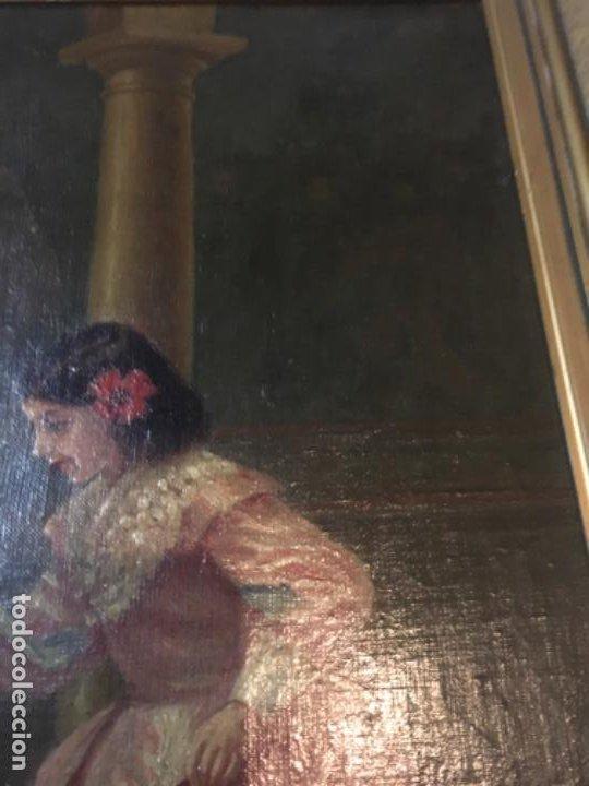 Arte: (M) LIENZO SOBRE TELA FIRMADO C. ALBERICIO 19.. NIÑA CON PERRO ENMARCADO 63X53 OLEO 50X40 cm. - Foto 7 - 195206823